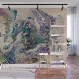 Peacock Flock - Abstract Acrylic Art by Fluid Nature Wall Mural