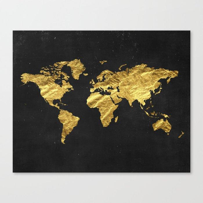 Gold World Map Canvas Print By Peachandgold Society6