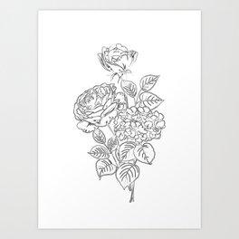 Flowers Minimal Line Art Art Print