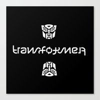 transformer Canvas Prints featuring TRANSFORMER ambigram by Reverse