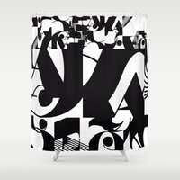 type Shower Curtains featuring TYPE by Maria Sinisterra