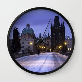 Winter and Snow at the Charles Bridge, Prague Wall Clock