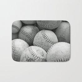 Vintage Baseballs in Black and White Bath Mat
