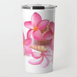 Frangipani blooms on sea shells Travel Mug