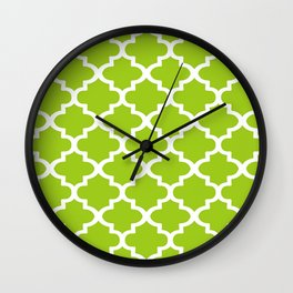 Arabesque Architecture Pattern In Lime Wall Clock