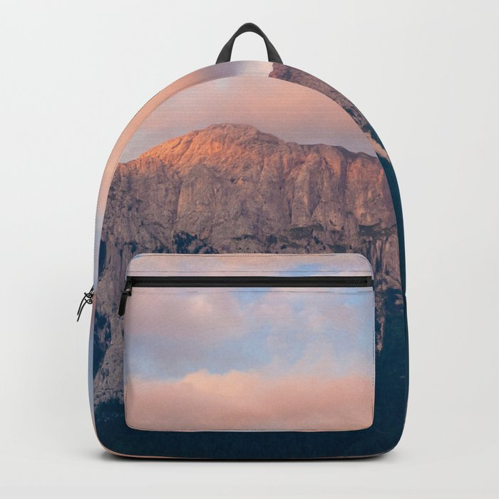 Pink Sunset over Mount Amazing Backpack