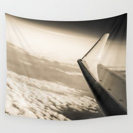 Airplane View Black and White Wall Tapestry