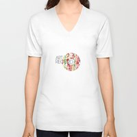 record V-neck T-shirts featuring Art Record by kartalpaf