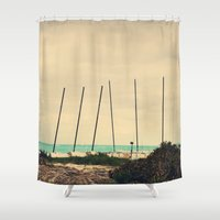 boats Shower Curtains featuring Boats by Kiera Wilson