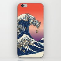 wave iPhone & iPod Skins featuring The Great Wave of Pug   by Huebucket