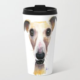 Nosey Dog Whippet Greyhound ' HOLLYWOLLY ' by Shirley MacArthur Travel Mug