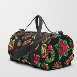 Christmas seamless Pattern Beautiful cartoon illustration Red green and gold colors doodle Duffle Bag
