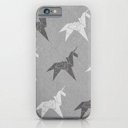 Origami Unicorn Grey iPhone Case