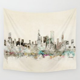 chicago city skyline Wall Tapestry