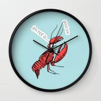 lobster Wall Clocks featuring lobster by mark ashkenazi