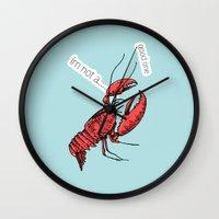 lobster Wall Clocks featuring lobster by mark ashkenazi
