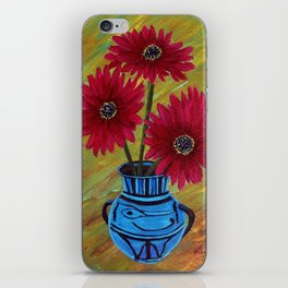 Blue vase with flowers/ still life  iPhone Skin