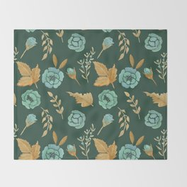 Watercolor floral turqiouse roses print Throw Blanket