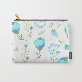 Blue watercolor flowers Carry-All Pouch