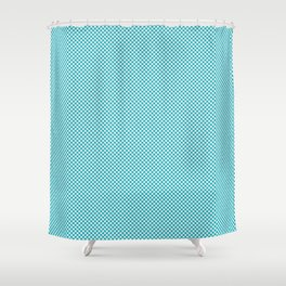 Houndstooth White & Teal small Shower Curtain