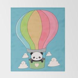 Kawaii Panda Bear Hot Air Balloon Throw Blanket