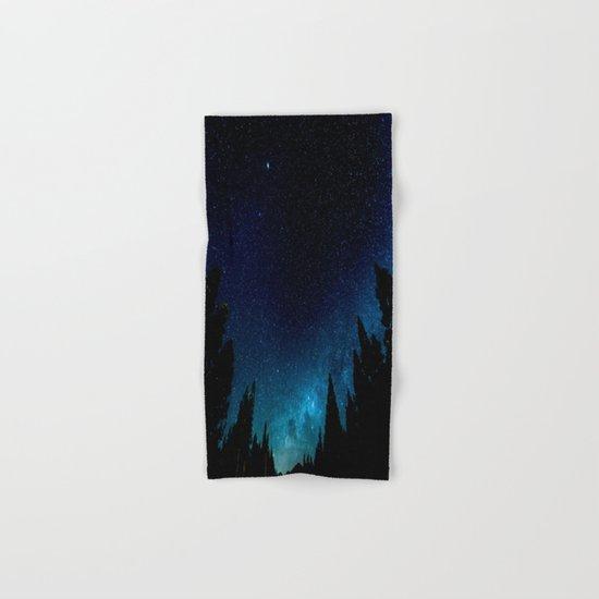 Black Trees Turquoise Milky Way Stars Hand & Bath Towel