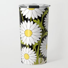 bouquet of camomiles in the vase on the black Travel Mug