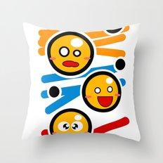 happy smiley trio Throw Pillow