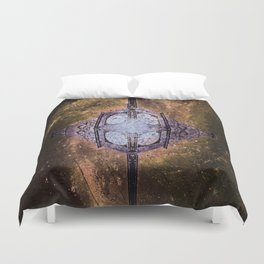 Vintage Timepiece In Space Duvet Cover