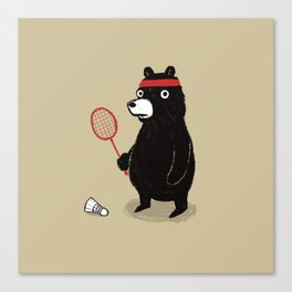 Badminton Bear Canvas Print