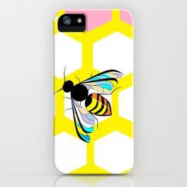 A Yellow Honeycomb and bee with Pink, Blue and Lavender iPhone Case