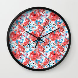 Beautiful vector illustration pattern of colorful flowers Wall Clock