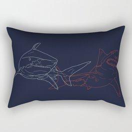 Blue and Red Sharks Rectangular Pillow