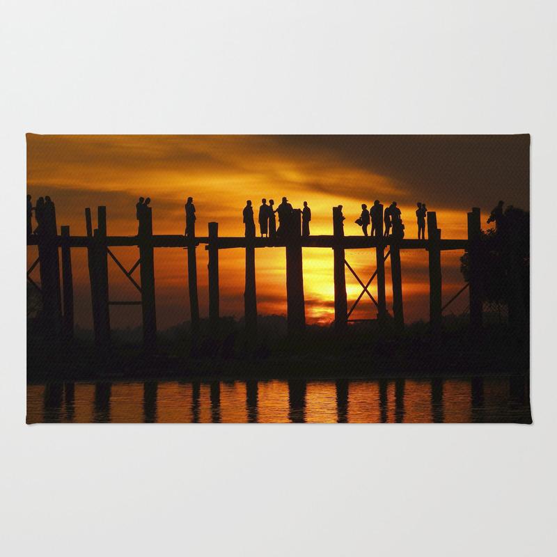 Sunset At U Bein Bridge, Myanmar Rug by Kurtvanwagner RUG8479240