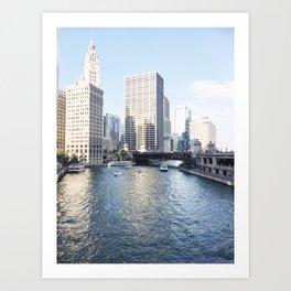 Magic Hour Downtown, Chicago River Art Print