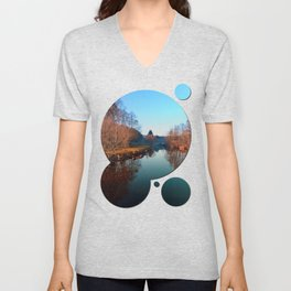 Winter mood on the river | waterscape photography Unisex V-Neck
