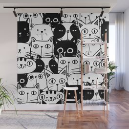 MONOCHROME CAT PATTERN Wall Mural