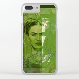 Frida Kahlo - between worlds - green Clear iPhone Case