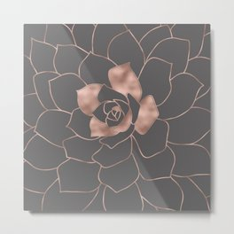 Rosegold  blossom on grey - Pink metal - effect flower Metal Print