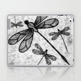 Bold black and white embroidered dragonflies on texture Laptop & iPad Skin