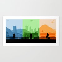 grand theft auto Art Prints featuring Grand Theft Auto: Trio by mcsjackson