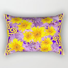CREAM- PURPLE YELLOW FLOWERS CELTIC ART Rectangular Pillow