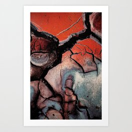Abstract black red blue painting Art Print