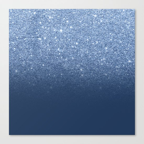 Modern trendy navy peony faux glitter ombre pattern Canvas Print