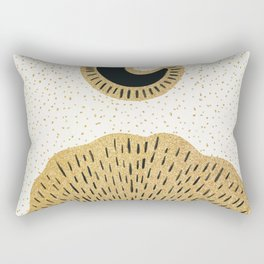 Sun and Moon Relationship // Cosmic Rays of Black with Gold Speckle Stars Cool Minimal Digital Drawn Rectangular Pillow
