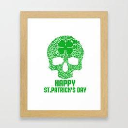 Skull Clover St Patrick's Day Ireland Beer Lovers Irish Gift Framed Art Print