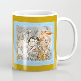 A Girl and a Hare in the Field of Queen Anne's Lace Flowers Coffee Mug