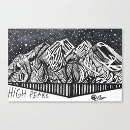 """High Peaks"" Hand-Drawn Adirondacks by Dark Mountain Arts Canvas Print"
