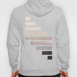 Grey Midcentury Modern Minimalist Staggered Stripes Rectangle Geometric Aztec Pattern Watercolor Art Hoody