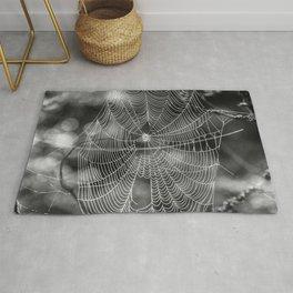 Spiderweb in Black and White Bokeh Nature Background #decor #society6 #buyart Rug